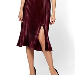 Pleated Midi Skirt - Classic Sangria   New York & Company