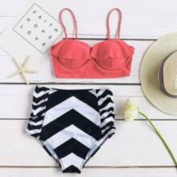 Chevron Print Ruffle Design High Waist Bikini Set   SHEIN