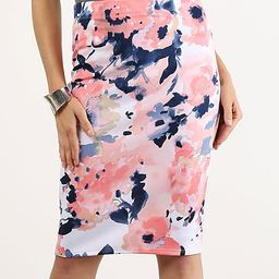 Blush Floral Watercolor Pencil Skirt - Women | zulily