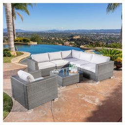 Santa Rosa 7pc Wicker Patio Seating Sectional Set with Cushions - Gray with Silver Gray Cushions - Christopher Knight Home, Grey | Target
