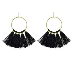 Black Ethnic Style Bohemian Earrings Gold-Color Circle With Colorful Long Tassel | ROMWE