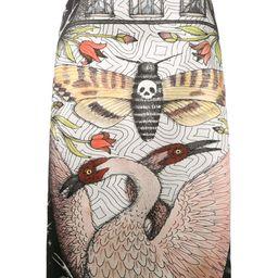 Gucci illustration print midi skirt - Black | FarFetch US