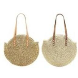 Round Straw Bag with Leather Straps  Handmade Round Straw Basket, Summer Tote, Round French Market bag, Round beach basket, Straw Beach bag | Etsy (US)