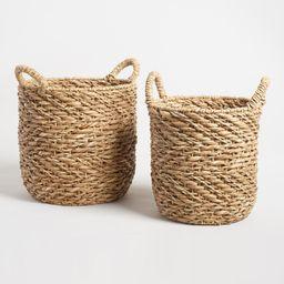 Natural Zigzag Hyacinth Camille Tote Basket - Medium by World Market Medium | World Market