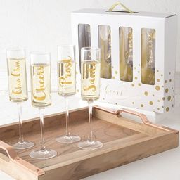 Gold Cheers Contemporary 8-ounce Clear Glass Champagne Flutes   Overstock