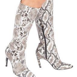 Black & White Snake-Embossed Shayla Boot   Zulily