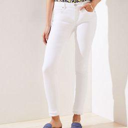 LOFT Curvy Double Frayed Skinny Jeans in White | LOFT
