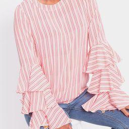 Red Stripe Round Neck Flared Sleeves Shirt | YOINS