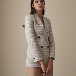 Reiss Cali - Herringbone Check Blazer in Neutral, Womens, Size 0   Reiss (Global - Non UK)