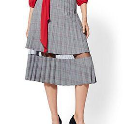 7th Avenue - Mesh-Inset Plaid Pleated Skirt   New York & Company