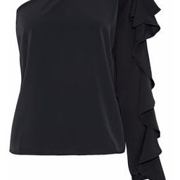 W118 By Walter Baker Woman One-shoulder Ruffled Crepe De Chine Blouse Black Size M   The Outnet US