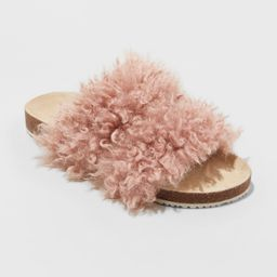 Women's Ember Two Band Faux Fur Slide Sandals - Universal Thread Pink 6.5 | Target