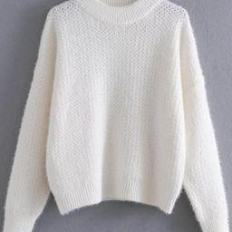 White Ribbed Trim Crew Neck Sweater | SHEIN