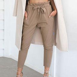 Paper Bag Pants Women Grey Drawstring Cropped Pants | Milanoo