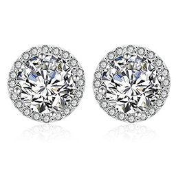 Silver Cubic Zirconia Stud Earrings - Women's Round Clear Crystal Diamond Studs Halo Stud Earrings S   Amazon (US)