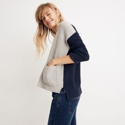Patch Pocket Pullover Sweater in Colorblock   Madewell