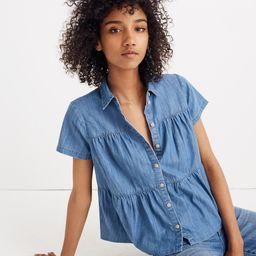 Denim Seamed Button-Down Shirt   Madewell