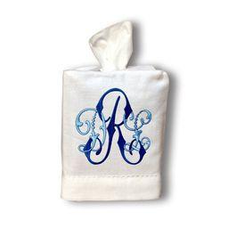 Monogrammed Linen Tissue Box Cover | Etsy (US)