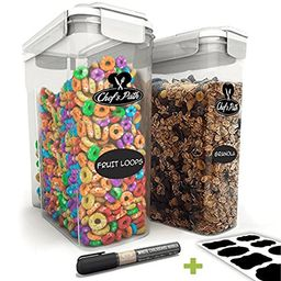 Chef's Path Cereal Storage Container Set - 100% Airtight Best Dry Food Keepers - 8 FREE Chalkboard L   Amazon (US)