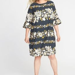 Floral-Print 3/4-Sleeve Plus-Size Shift Dress   Old Navy US