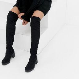 Miss Selfridge over the knee chunky heel boots in black | ASOS US