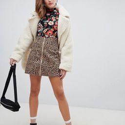 Monki Leopard Print Button Front Mini Skirt | ASOS US