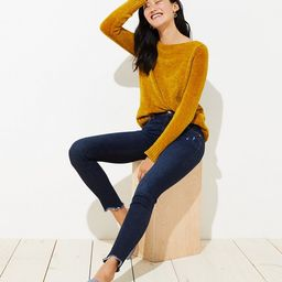 Modern Frayed Skinny Jeans in Dark Indigo Wash   LOFT   LOFT