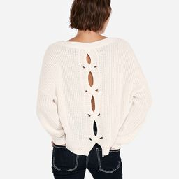 Cable Knit Split Back Pullover Sweater | Express