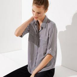Mixed Stripe Utility Blouse | LOFT | LOFT