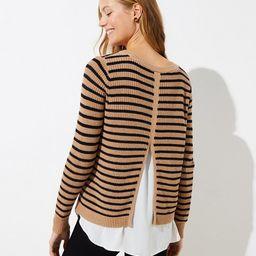 Striped Split Back Mixed Media Sweater | LOFT | LOFT