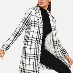 SHEIN Notch Collar Frayed Edge Plaid Longline Coat | SHEIN