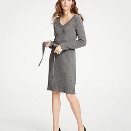 Tie Waist V-Neck Sweater Dress | Ann Taylor (US)