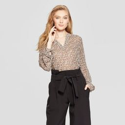 Women's Leopard Print Long Sleeve Popover Blouse - A New Day™ Tan | Target