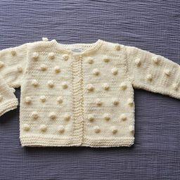 Newborn Baby Girls Boys Hand knitted Wool Cardigan Sweater Natural Ivory white popcorn bobbles Bapti | Etsy (US)