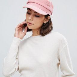 Miss Selfridge baker boy hat in pink cord | ASOS US