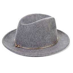 JNINTH Trendy 100% Wool Felt Fedora Hats Adjustable Cap with The Unique Metal Circle for Women | Amazon (US)