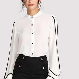Contrast Binding Curved Hem Shirt   SHEIN