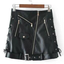 Zipper Detail Belted Moto Skirt   SHEIN