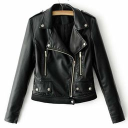 Ribbed Hem PU Biker Jacket   SHEIN