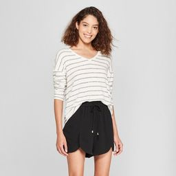 Women's Striped Long Sleeve Cozy Knit Top - A New Day&3153; White/Black   Target