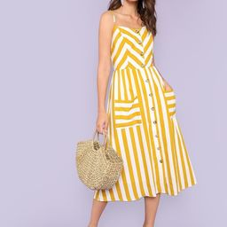 Button Up Pocket Front Striped Cami Dress | SHEIN