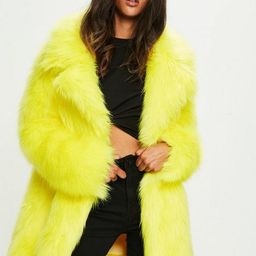 Yellow Faux Fur Coat With Collar | Missguided (US & CA)
