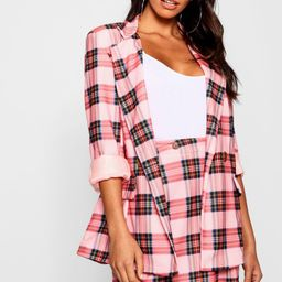 Pink Check Double Breasted Blazer | Boohoo.com (US & CA)
