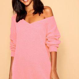 V Neck Jumper Mini Dress | Boohoo.com (US & CA)