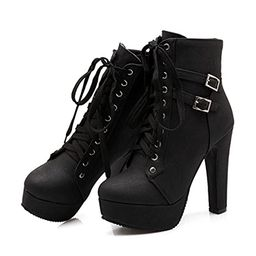 Susanny Women Autumn Round Toe Lace up Ankle Buckle Chunky High Heel Platform Knight Martin Boots   Amazon (US)