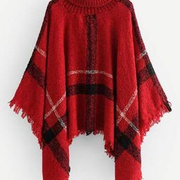 Raw Hem Poncho Sweater | SHEIN
