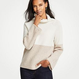 Cashmere Colorblock Ribbed Turtleneck Sweater | Ann Taylor (US)