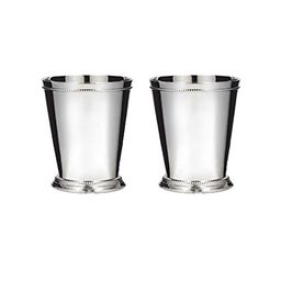 Klikel Mint Julep Cup Classic Beaded Trim Border Moscow Mule Kentucky Derby Julep Set of 2 – Stainle | Amazon (US)