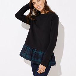 Plaid Flounce Sweatshirt | LOFT | LOFT