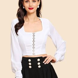 Cut Out Knot Back Blouse   SHEIN